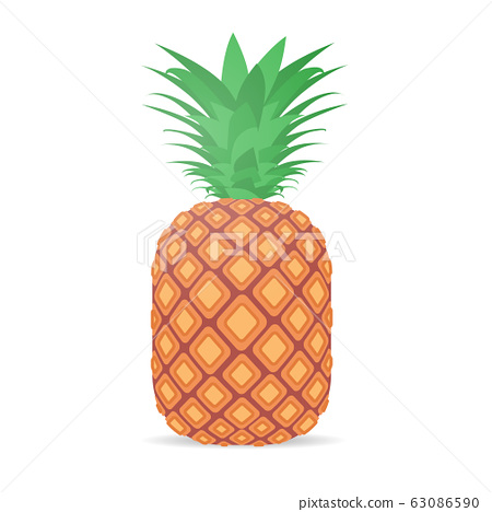 fresh juicy pineapple icon tasty ripe fruit isolated on white background healthy food concept 63086590