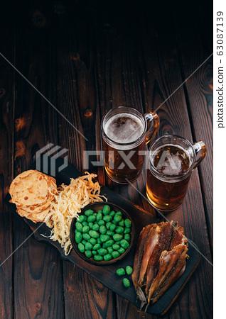 beer and snacks set. pub, restaurant, bar food 63087139