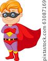 Cartoon superhero boy posing isolated on white background 63087169