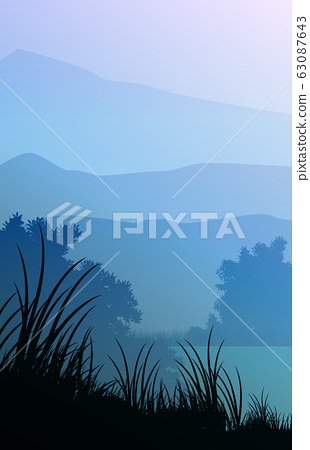 Mountains horizon hills Natural silhouettes in the evening Sunrise and sunset Landscape wallpaper Illustration vector style Colorful view background 63087643