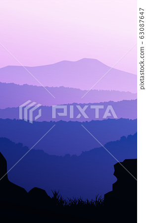 Mountains horizon hills Natural silhouettes in the evening Sunrise and sunset Landscape wallpaper Illustration vector style Colorful view background 63087647