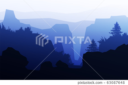 Mountains horizon hills Natural silhouettes in the evening Sunrise and sunset Landscape wallpaper Illustration vector style Colorful view background 63087648