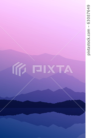Mountains horizon hills Natural silhouettes in the evening Sunrise and sunset Landscape wallpaper Illustration vector style Colorful view background 63087649