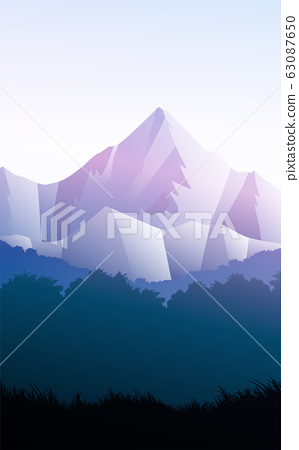 Mountains horizon hills Natural silhouettes in the evening Sunrise and sunset Landscape wallpaper Illustration vector style Colorful view background 63087650