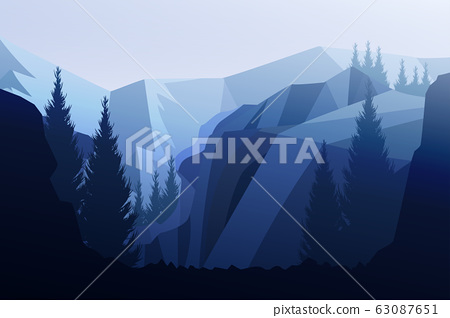 Mountains horizon hills Natural silhouettes in the evening Sunrise and sunset Landscape wallpaper Illustration vector style Colorful view background 63087651