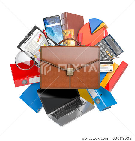Busines, accounting and finance. Briefcase with 63088905