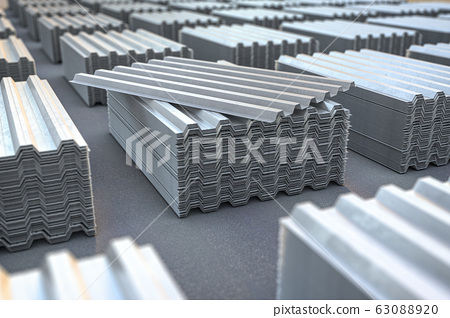Stacks of metal corrugated sheets, steel zinc or 63088920
