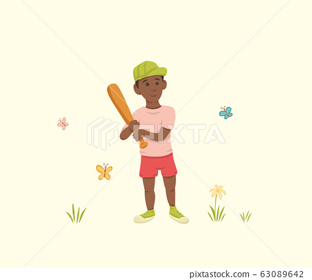 African American Boy with a Bat in his Hands 63089642