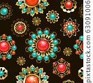 Ethnic brooches seamless pattern 63091006