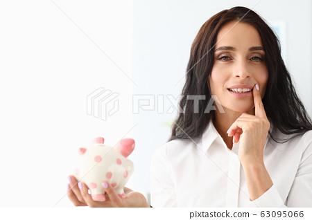 Beautiful girl ceramic pig figurine and thinks 63095066