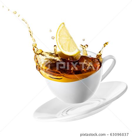 cup with tea splash 63096837
