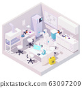 Vector isometric laboratory and scientist with samples of coronavirus 63097209
