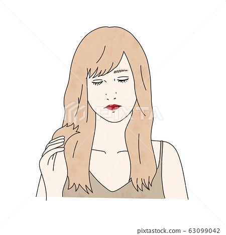 女人患有受損的頭髮_護髮 63099042