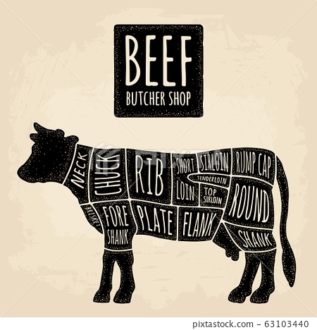 Cuts of cow meat. Beef handwriting lettering. Vintage vector engraving 63103440