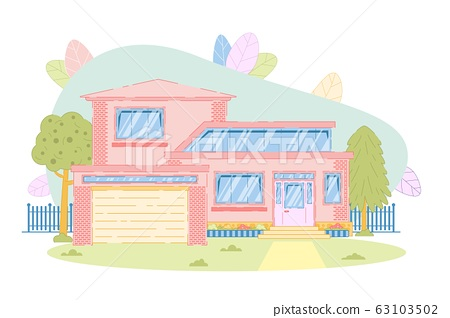 Suburban Cottage Family House with Garage Design 63103502