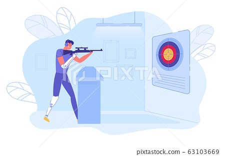 Shooter - Disabled Athlete with Prosthesis Aiming. 63103669