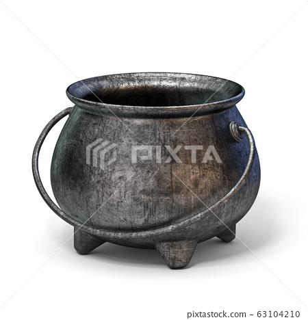 Empty iron cauldron 3D 63104210