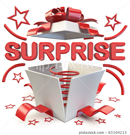Opened gift box with SURPRISE word 3D 63104213