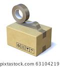 Taping cardboard box 3D 63104219