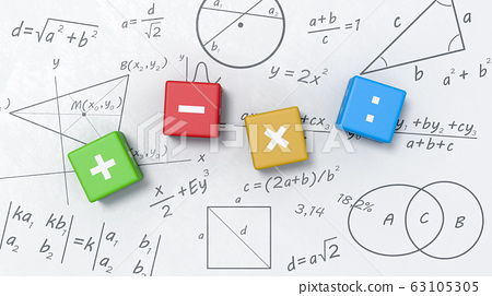Math Operators Cubes on Whiteboard with Formulas, Graphs and Symbols 63105305