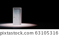 Closed White Door Isolated Spotlighted on Black Background 63105316