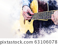 man playing acoustic guitar on walking street on watercolor illustration painting background. 63106078