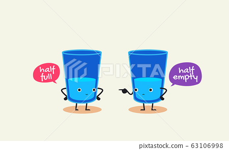 Two glasses of water is having conversation. Half 63106998