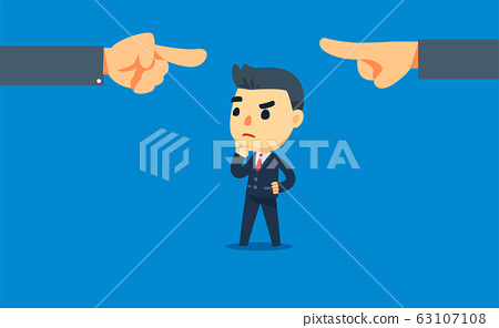 a businessman is in the middle of a conflict. two 63107108