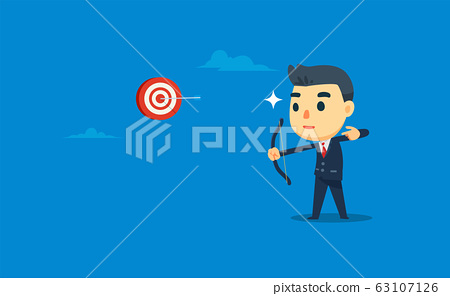 a businessman is shooting the target with 63107126
