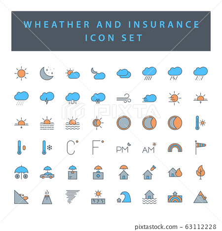 weather and insurance icon set with filled outline 63112228