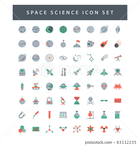 space and science icon set with colorful modern 63112235