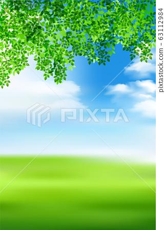 新的綠色葉子綠色背景 63112984