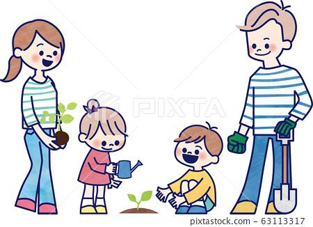 식수 활동을하는 가족 63113317