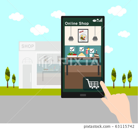 online shopping with smart phone and Restaurant 63115742