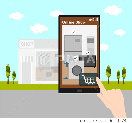 online shopping with smart phone and home appliances retail shop  63115743