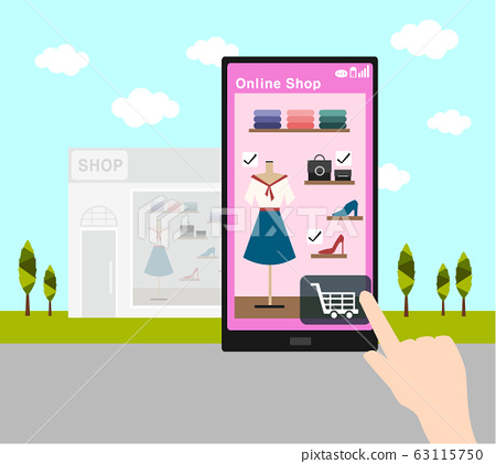online shopping with smart phone and fashion retail shop  63115750