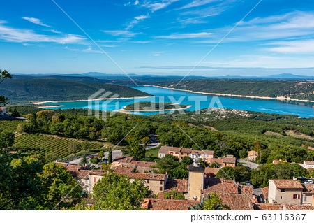 Aiguines in Verdon Gorge in French Alps, Provence, 63116387
