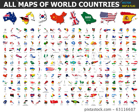 All maps of world countries and flags . Collection 63116687