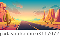 Sunset in desert with road, cactuses and rocks 63117072