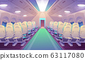 Empty airplane interior with chairs, plane salon 63117080