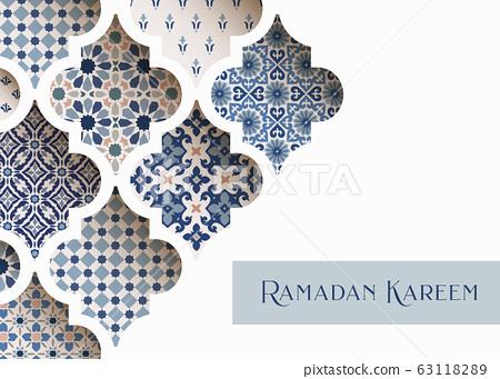 Close-up of blue ornamental arabic tiles, patterns through white mosque window. Greeting card, invitation for Muslim holiday Ramadan Kareem. Vector illustration bacground, web banner, modern design. 63118289
