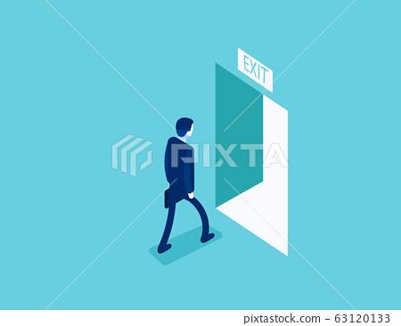 Man walking to the exit  through an open door. 63120133