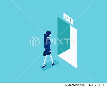 Woman walking to the exit  through an open door. 63120134