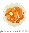 Pile of Pancakes with Sticky Caramel or Chocolate Topping Served on Plate Vector Illustration 63120593