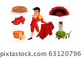 Spain Landmarks and Symbols with Corrida Fighter and Olive Oil Vector Set 63120796