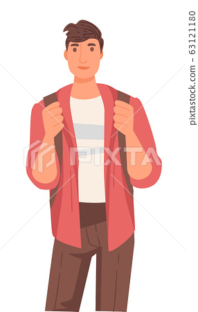 Native American guy with backpack, international university student 63121180