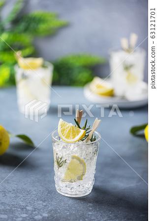 lemon soda cocktail with rosemary 63121701