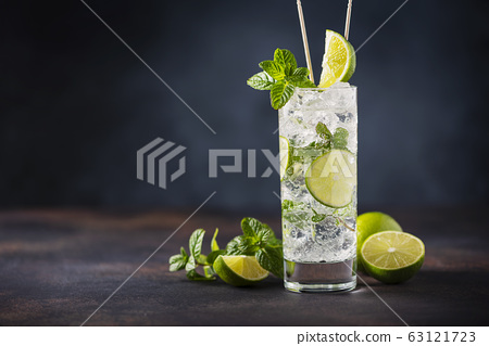 mojito with lime, mint  and ice 63121723