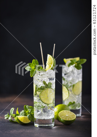 mojito with lime, mint  and ice 63121724