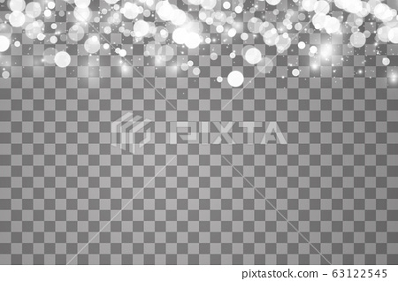 Glowing light effect with many glitter particles isolated on transparent background. Vector starry cloud with dust. Magic christmas decoration 63122545